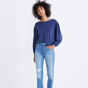 MADEWELL S Blue Gathered Sleeve Top